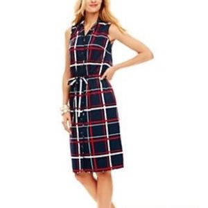 TALBOTS rope pattern belted career dress 16